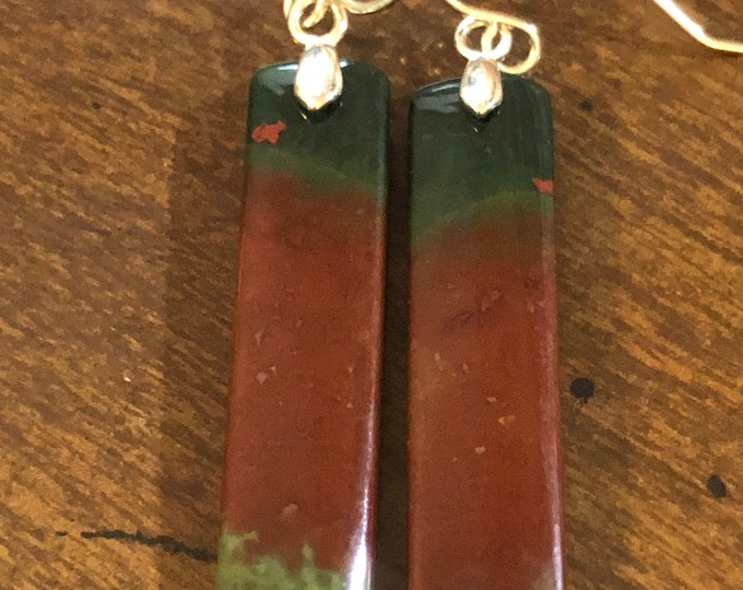 Polished Natural Bloodstone rectangle 40mm x 9mm x 4mm Earring Pair on Sterling Silver fish hook Healing Sleep Properties