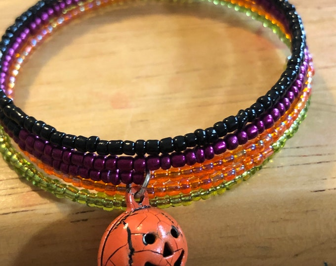5 band Halloween colors pumpkin bell charm beaded stackable bracelet Memory Wire adjustable Unique, One of a kind, size child to adult