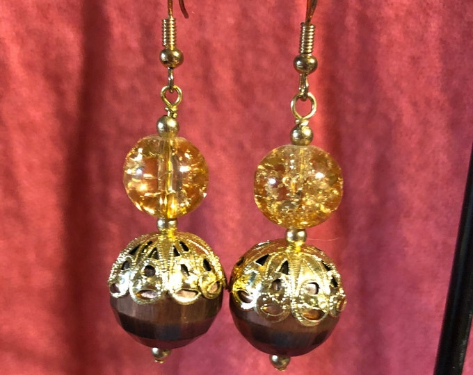 Beautiful Copper hammered sphere with peach crackle glass earrings with Jesse James specialty beads copper and gold