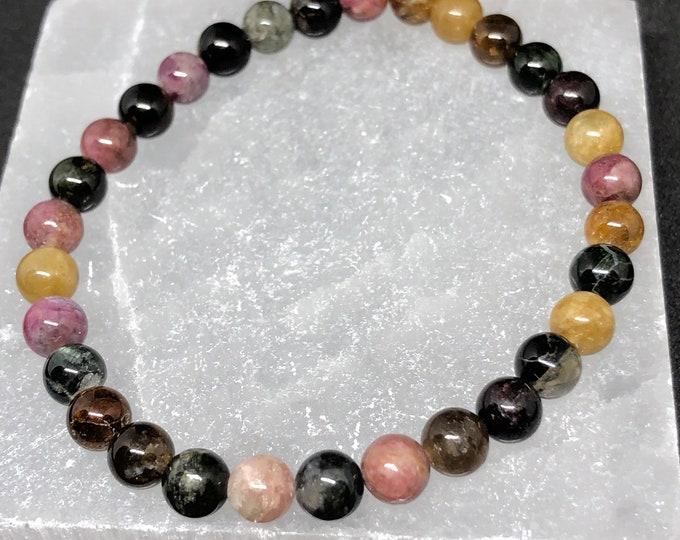 Featured listing image: 6mm Grade AAA Multicolored Tourmaline Beautiful Stretch Bracelet  mens womens handmade healing heart stones