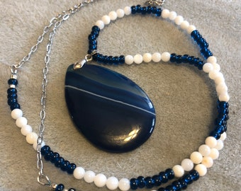 Blue White Quartz Onyx Pendant on MOP blue drux beaded necklace with added stainless steel Flat Cable Chain choice of length 20-34in