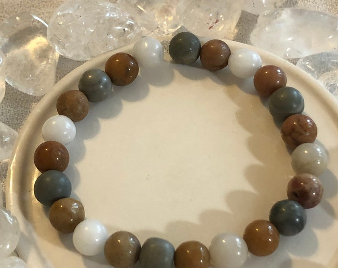 Snow Agate and Multicolor Jasper round Gemstone Stretch Bracelet Made to order Men's women's