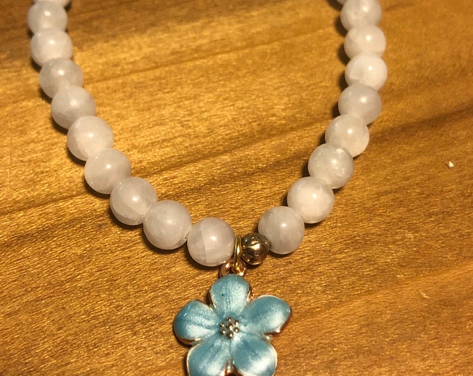 6mm AAA BLUE CELESTITE Stretch Bracelet Gemstone Bracelet with enamel Flower Charm Bracelet Women Bracelet Not treated Healing 100% Genuine