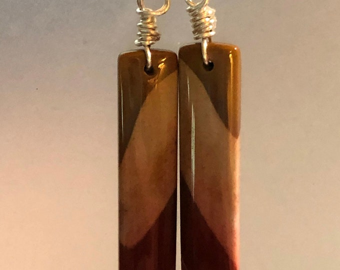 Natural Stunning Mookaite Earring Pair Rectangle Earrings on Sterling Silver fish hook Healing Properties 40mm x 8mm x 3.5mm