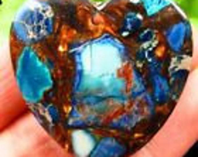 Blue Sea Sediment Jasper & Gold Copper Bornite Stone Man Made  Pendant on 17-19in  braided waxed cord in 6 colors