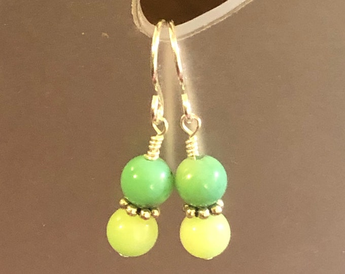 Yellow Green Chrysoprase earrings on sterling silver earring wires Spiritual healing