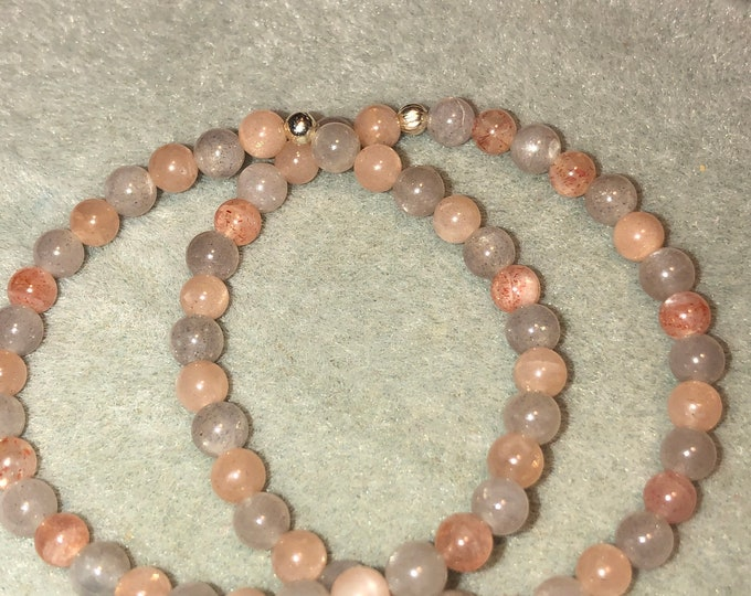 5mm AA Adularescence Orange Moonstone Stretch Bracelet Gemstone Bracelet Moonstone Bracelet Handcrafted Genuine 100% Natural