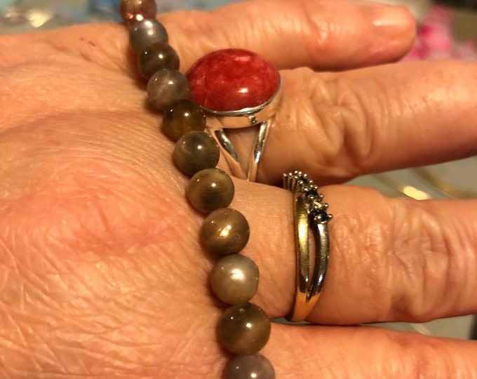 6mm Black Sunstone Genuine Gemstone AAA quality Rare Stretch Bracelet Spiritual Healing handmade to order