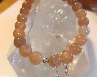 Orange Sunstone Stretch Bracelet and Sterling Silver earring set 8 mm AAA gem quality