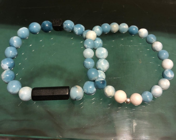 Pair of Larimar Sky Blue Gemstone Stretch Bracelet Healing stackable Valentine's Day Gift Boxed