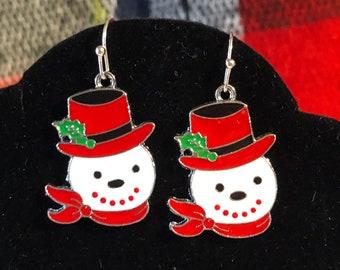 Enamel Charm Snowman earrings on Surgical Steel earring wire