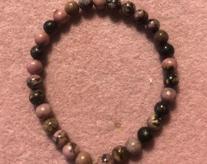 6mm Haitian Flower Rhodonite Gemstone Stretch Bracelet Made to order Valentines Day Mothers Day handmade