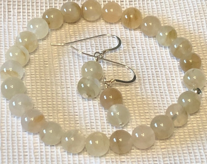 7-8 mm Pale Yellow Moonstone Stretch Bracelet and Sterling Silver earring set