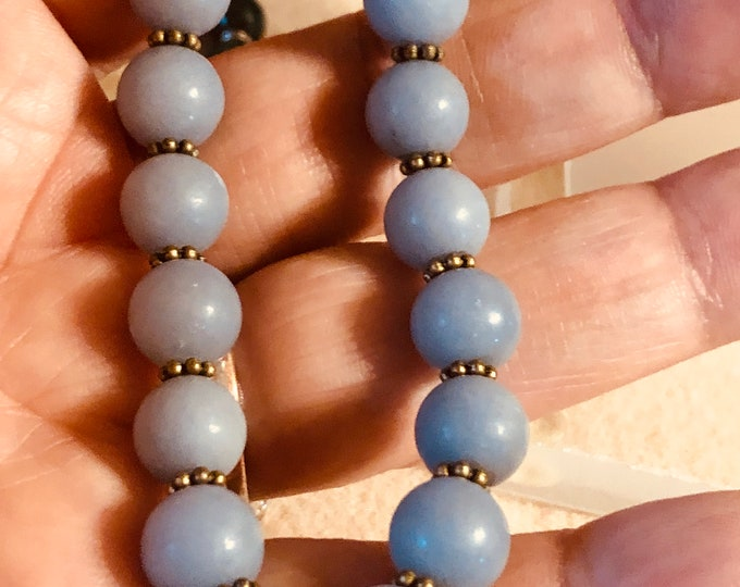 10mm Angelite and Antique Brass Beaded Stretch Bracelet  fits your choice of size