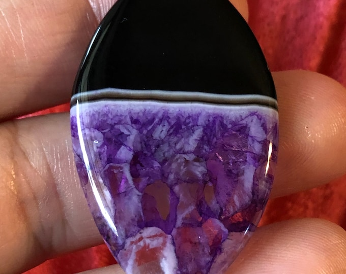 Black and Purple Onyx Olivary Pendant Bead on Sterling Silver snake chain 16in, 18in, 30in