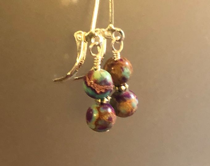 6mm Purple Blue Sea sediment Jasper Natural gemstone earrings on Sterling Silver filled earring wires Spiritual healing