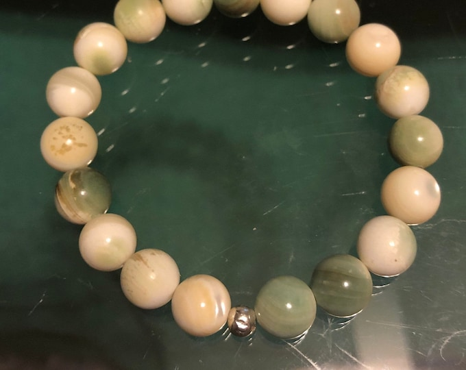 8mm Stunning Mother of Pearl Natural Genuine Gemstone Bracelet Stretch Stackable