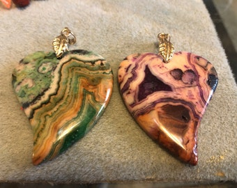 55mm x 47mm Purple or Green Crazy Lace Agate Heart Pendant with gold leaf bail on 17-19in  braided waxed cord in 6 colors