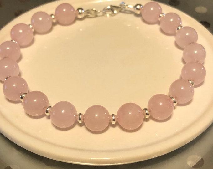 8mm Rose Quartz grade AAA Sterling Silver lobster clasp bracelet Genuine gemstone natural •Unconditional Love