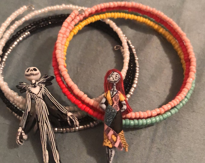 Jesse James Nightmare Before Christmas Jack Skellington OR Sally Memory Wire Bracelet fits size 6-7.5 inch Unique, Customize all sizes