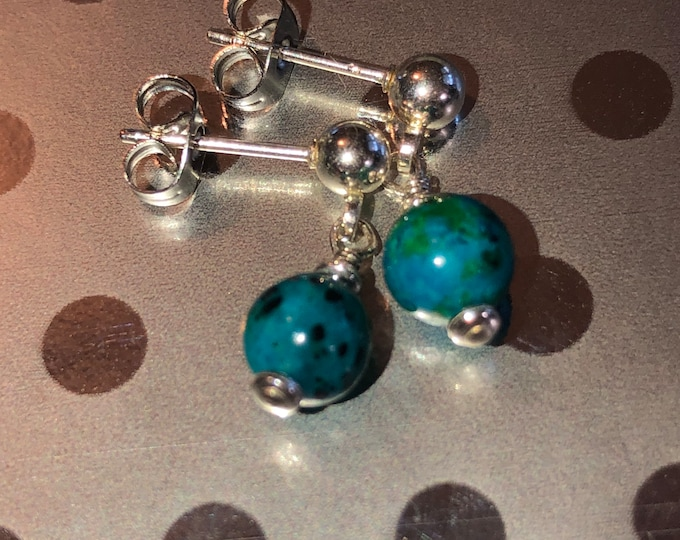 6mm Chrysocolla post gemstone earrings made with Sterling silver post, head pins and spacers