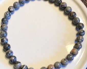 Silver Crazy Lace agate 6mm mens womens handmade stretch bracelet optimism, happiness healing