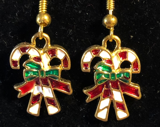Candy Cane Enamel Earrings on Gold Plated fishhook earring wires