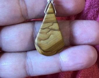 Picture Jasper Teardrop  Pendant Bead on Sterling Silver snake chain 16in, 18in, 30in