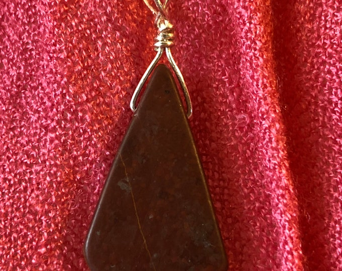 Wire Wrapped Red Jasper Teardrop  Pendant on Sterling Silver snake chain 16in, 18in, 30in