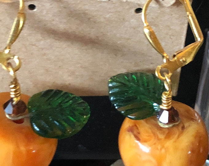 Pumpkin Glass and Swarovski earrings on GP leverback halloween fall thanksgiving