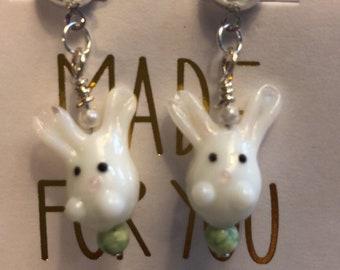 Easter Bunny Lampwork  Earrings