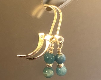 Blue Apatite  High quality earrings on sterling silver earring wires Spiritual healing stunning Rare Teal