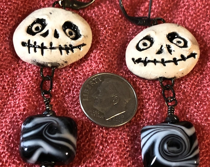 Jack Skellington earrings handmade ceramic faces and lampwork beads black oxide leverbacks Nightmare before Christmas