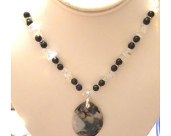 Black Onyx and Opalite necklace Black /White Agate pendant w/ sterling silver earrings