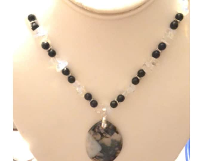 Black Onyx and Opalite necklace Black /White Agate pendant w/ earrings
