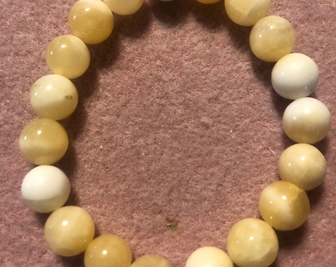 HONEYCOMB CALCITE Stretch Bracelet STUNNING , made to order