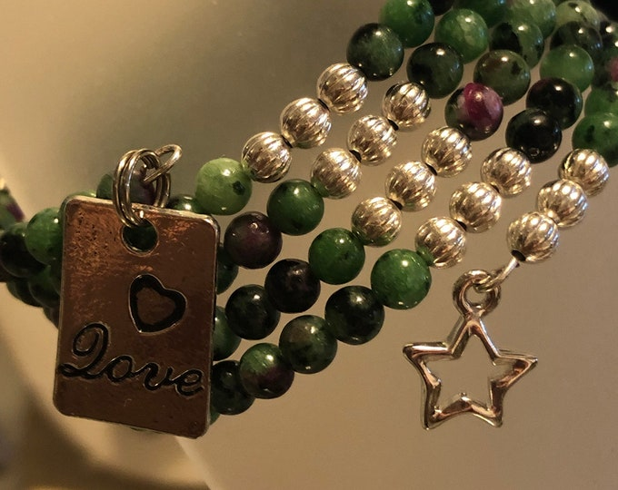 4mm Dainty Ruby Zoisite Genuine •Love charm• star charm• 4 row Silver Plated Stainless Steel non-tarnish Memory Wire Handcrafted 7 inch