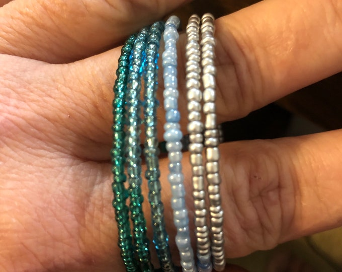6 band blue/teal/silver color seed bead stackable bracelet Memory Wire adjustable Unique, One of a kind, Handcrafted size child to adult