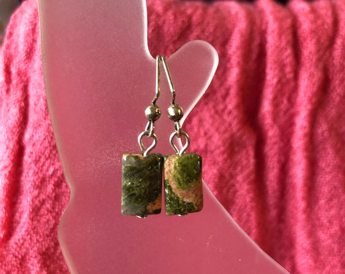 Unakite rectangle earring with SS earring wire