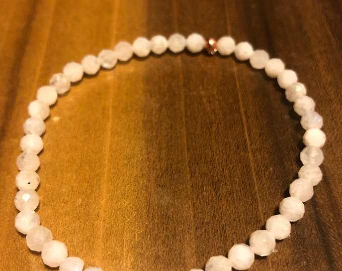 4mm Faceted Raw Rainbow Moonstone Stretch Bracelet made to order wrist Dainty Delicate
