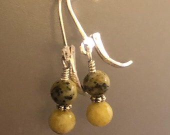 Yellow Turquoise Serpentine earrings on sterling silver lever back earring wires Spiritual healing