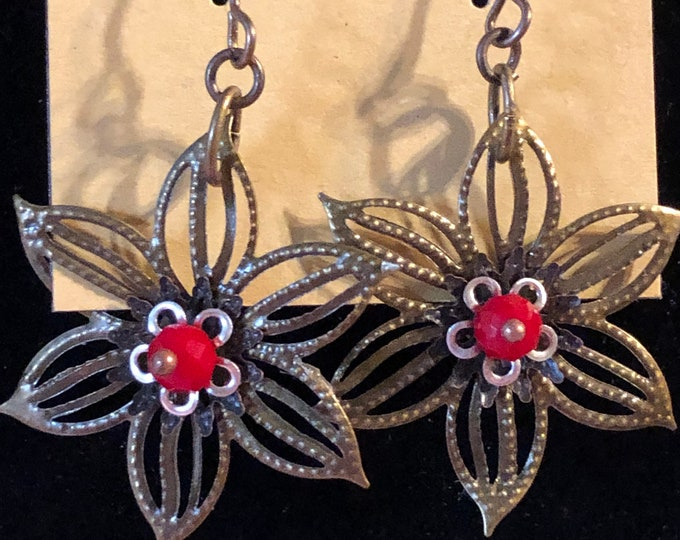 Poinsettia Filigree earrings layered silver and red on Vintaj Ant. Brass earring wire