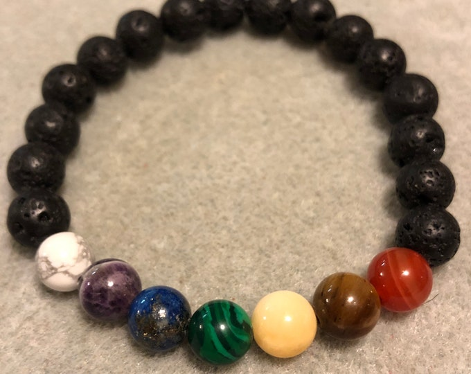 8mm Chakra Bracelet Howlite Amethyst Lapis Lazuli Malachite Honeycomb Calcite Tigers Eye Red Agate Genuine beaded bracelet Diffuser bracelet