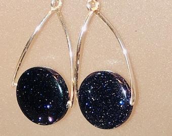 Natural 10mm Blue Goldstone coin 9.25 Sterling swing bail earrings Sterling Fishhook earring wire spiritual healing