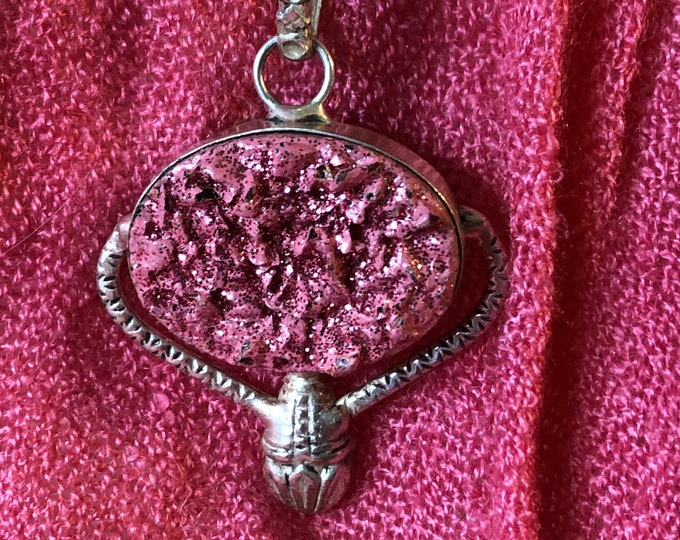 Pink Druzy Silver Pendant Bead on Sterling Silver snake chain 16in, 18in, 30in  Mothers day Handmade Gemstone Bracelet
