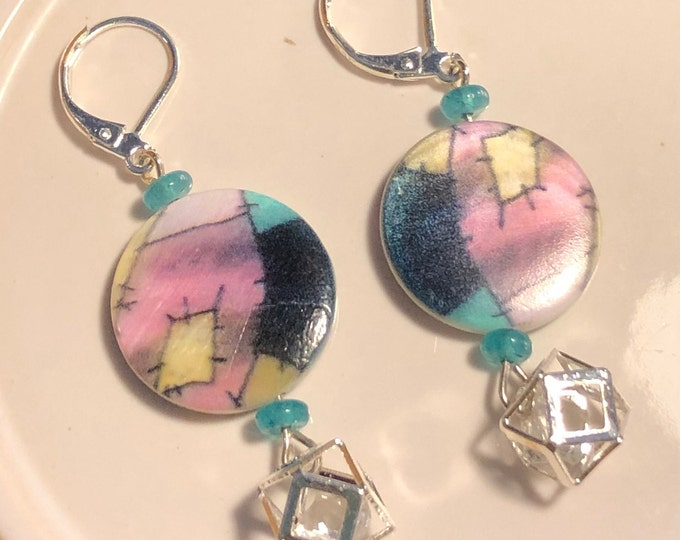 SALLY Jack Skellingtons Girlfriend Jesse James Bead Earrings with Teal Drux beads on Sterling Silver leverbacks Handmade Halloween