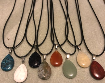 Natural Gemstone 17x25mm Teardrop Pendant 17in black braided linen cord gifts stocking stuffers Christmas Holiday Gift