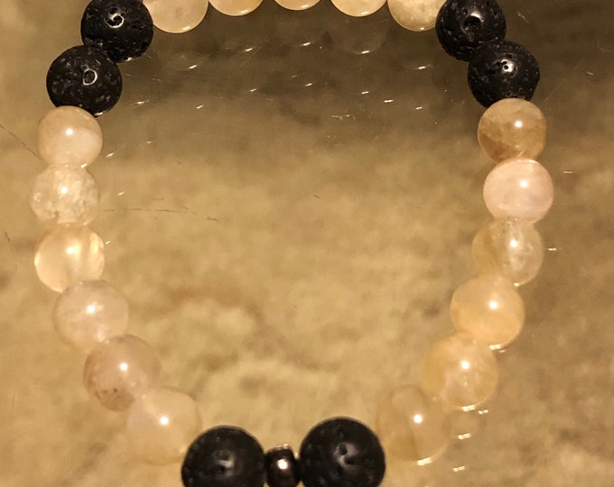 8mm Natural Grade AA Yellow Moonstone and Lava Diffuser Beaded Bracelet Men's Women's Healing Protection