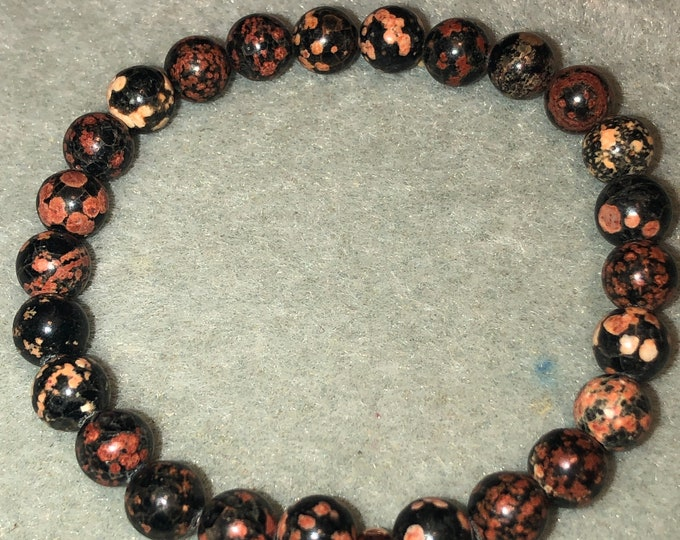 8mm Genuine Red Snowflake Obsidian Stretch Bracelet Made to order Handmade Gemstone Bracelet