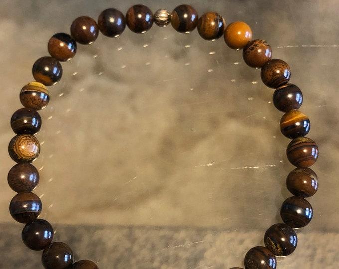 6mm  Golden Tigers Eye Beaded Bracelet Men's Women's Healing Protection